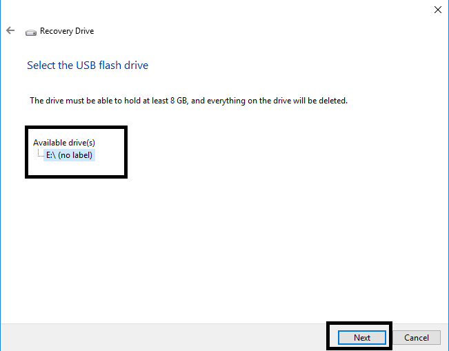 how to make a windows recovery usb windows 10
