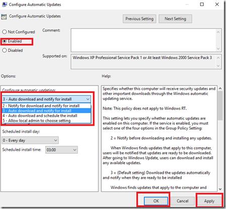 configuration windows update