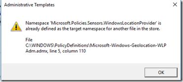 namespace windows location gpedit error