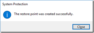 restore point successfully created